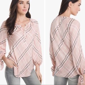 WHBM size 6 pink plaid cuffed tie sleeve blouse